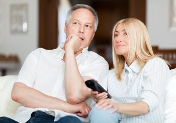 Senior Couple Watch bridge on their TV - Great Bridge Links