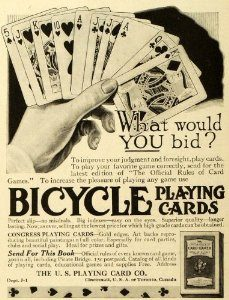 Card Ads Everywhere - Bicycle Vintage Playing Card Ad - Great Bridge Links
