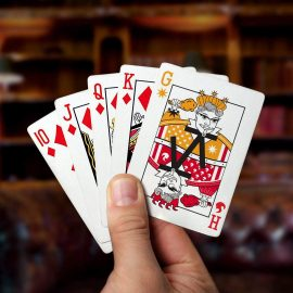 Card Ads Everywhere - KFC playing cards in hand - Great Bridge Links