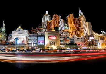 Panoramic night view of the famous Las Vegas strip